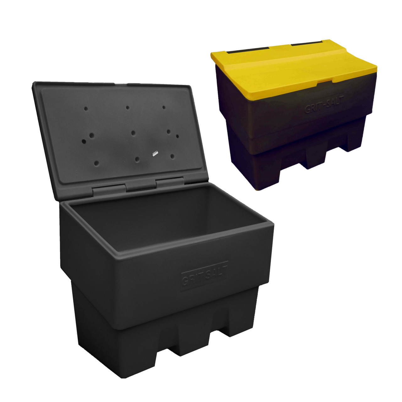 Black 400 Litre grit salt bin optional yellow lid