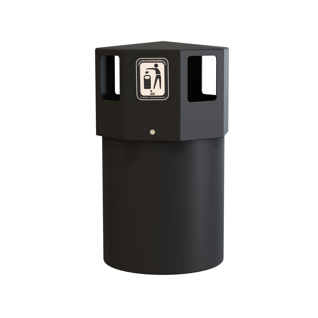 Black Octapus Maxi waste litter bin