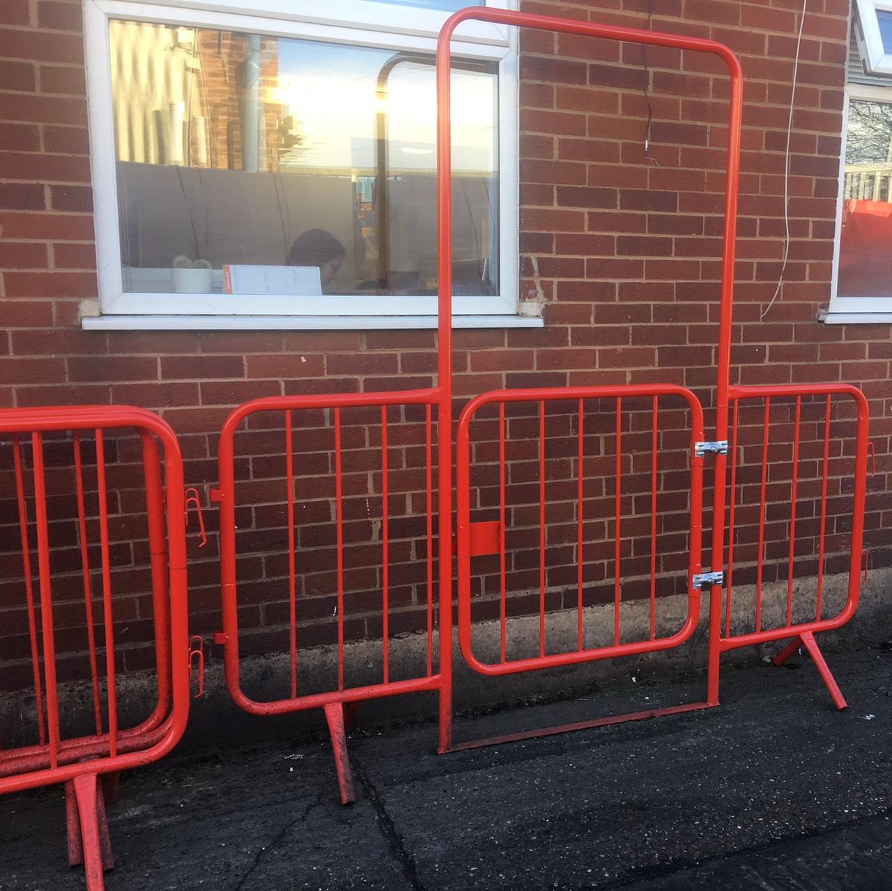 2.3 metre red gated walkthrough barrier