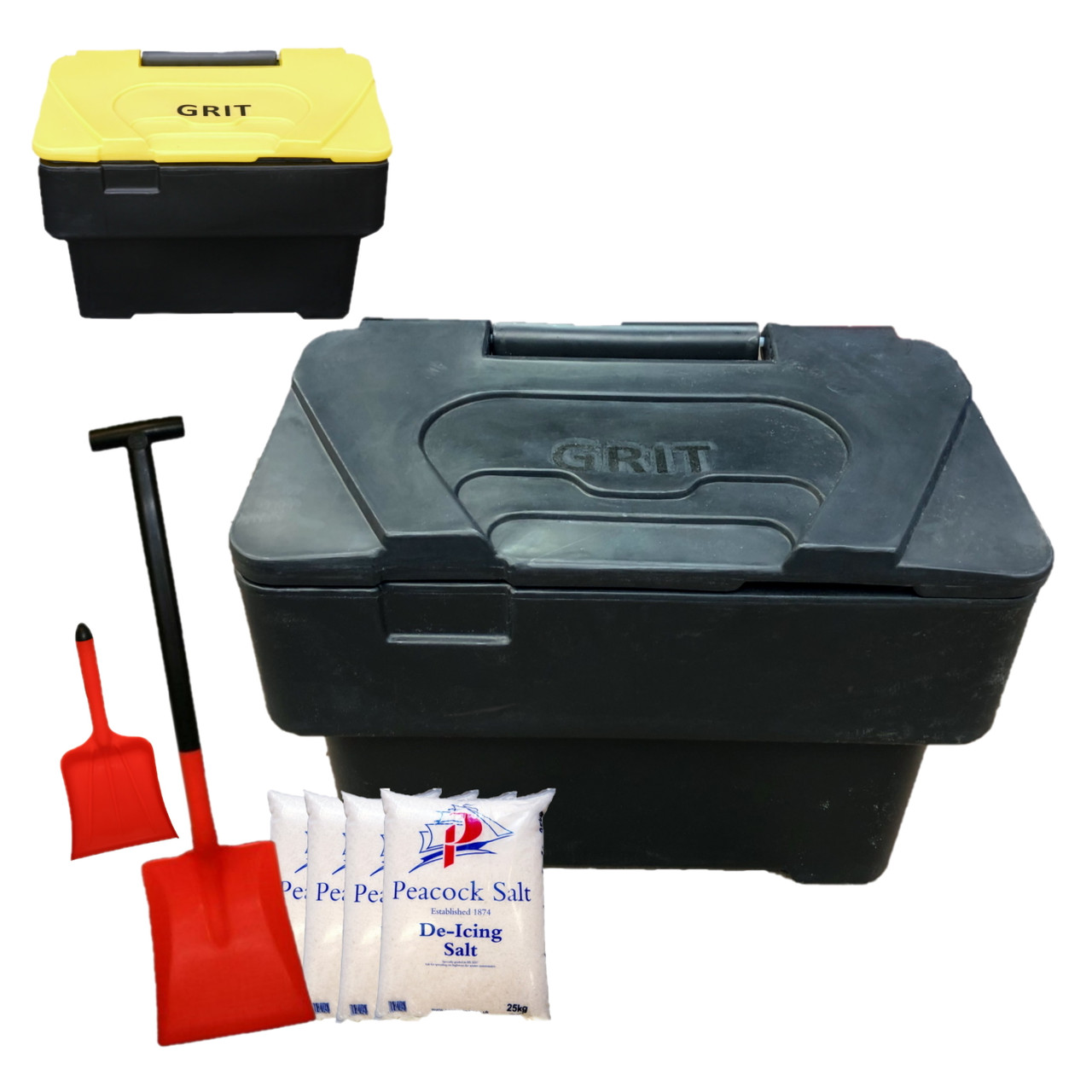 Recycled black 115 Litre grit bin with rockk salt