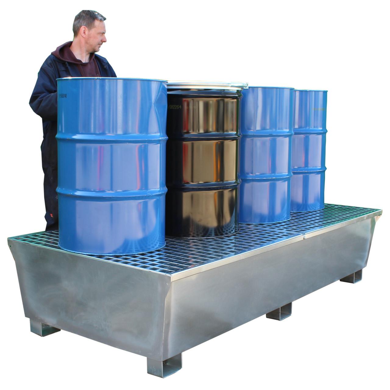 GSP8D 1100ltr Galvanised Steel 8 Drum Spill Pallet Bund Stand801.95