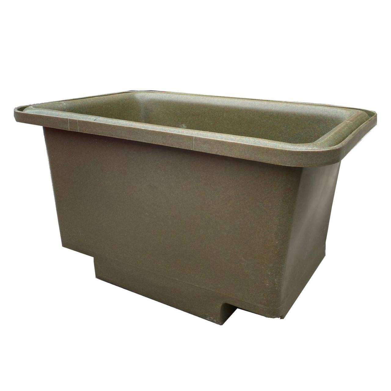 250 Litre recycled forklift mortar tub side on