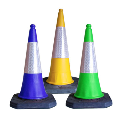 What do yellow, green and blue road traffic cones mean on UK roads?