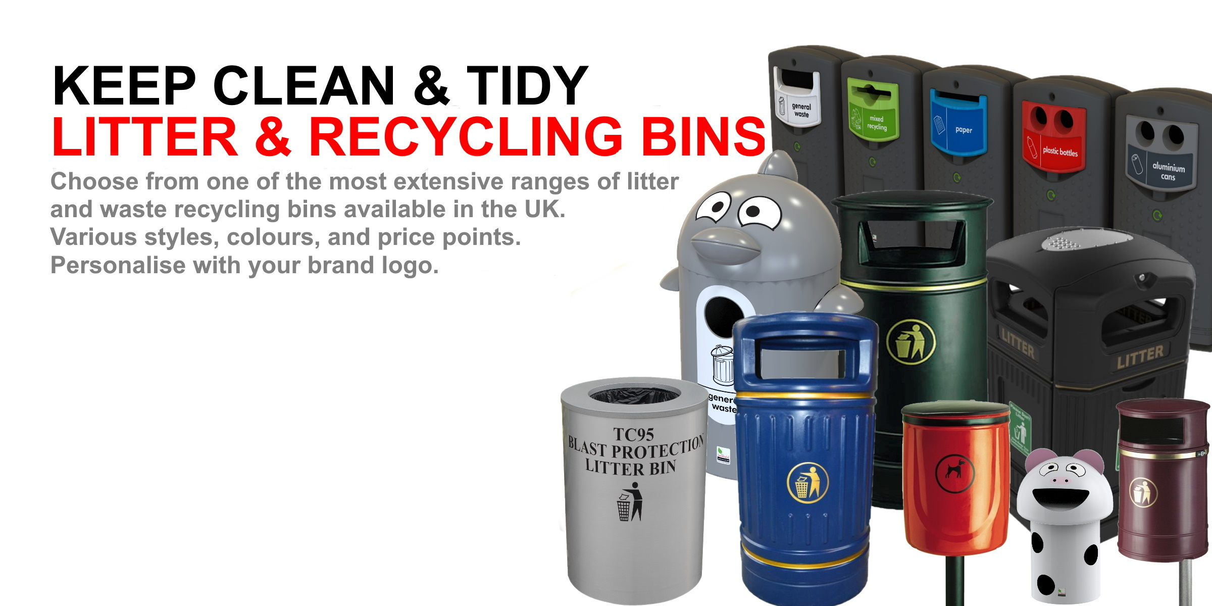 Litter, recycling, dog waste bins
