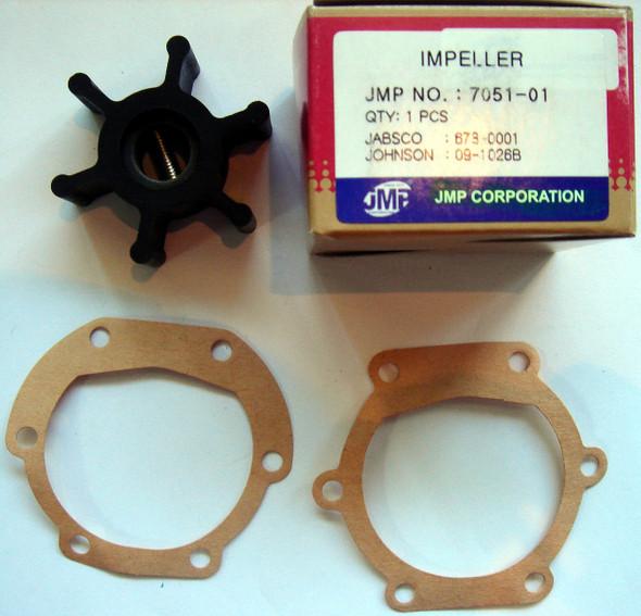 JMP Marine Impeller 7051-01K Johnson 09-1026B, Jabsco 673-0001, Perkins 24880194, Volvo Penta 804696, 897055, 875808