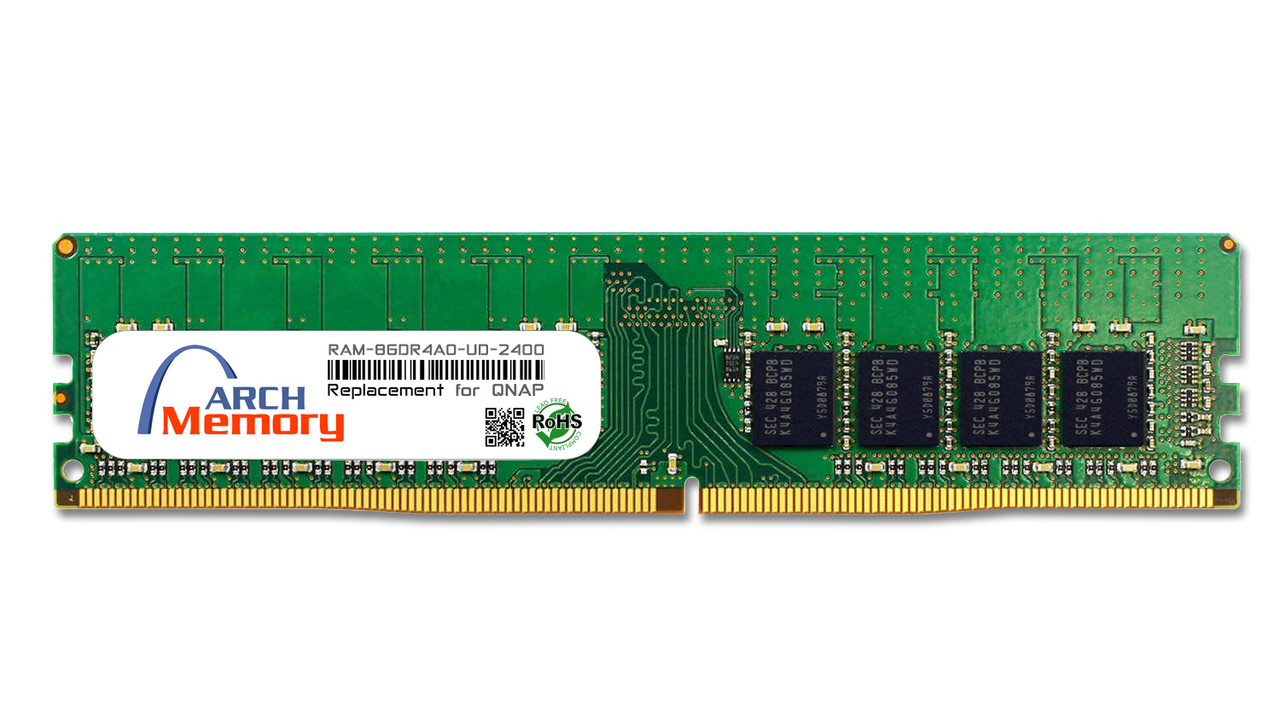 8GB RAM-8GDR4A0-UD-2400 DDR4-2400 PC4-19200 288-Pin UDIMM RAM | Memory for QNAP