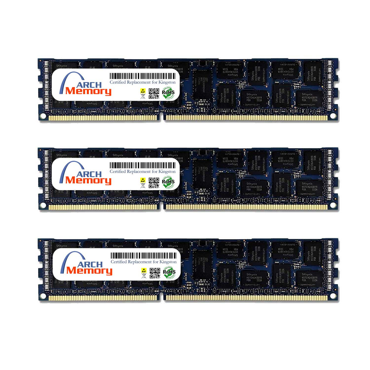 16GB KTH-PL313Q8LVK3/48G 48GB Kit (3 x 16 GB) DDR3L 1333MHz 240-Pin ECC RDIMM Server RAM   Kingston Replacement Memory