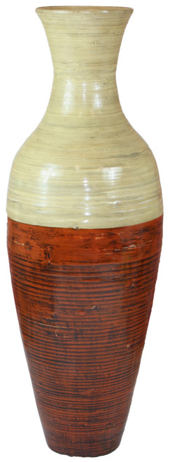 43 Tall Bamboo Floor Vase, Red and Natural