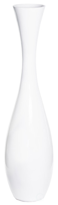 "43"" Tall White Modern Fiberglass Narrow Trumpet Floor Vase"