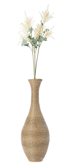 38 Inch Tall Trumpet Design Artificial Rattan Floor Vase Beige