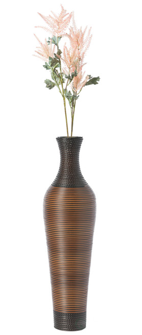 Decorative Artificial Rattan Dark Brown Tall 39 Inch Standing Floor Vase