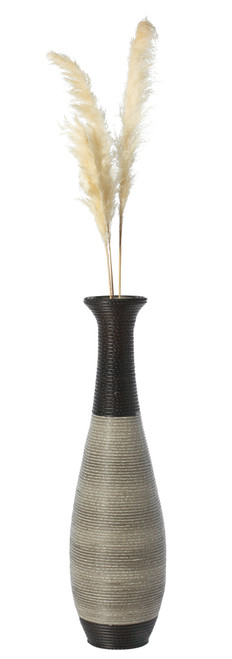 Tall Trumpet Design Decorative Artificial Rattan Wire Pattern Floor Vase 40 Inch High