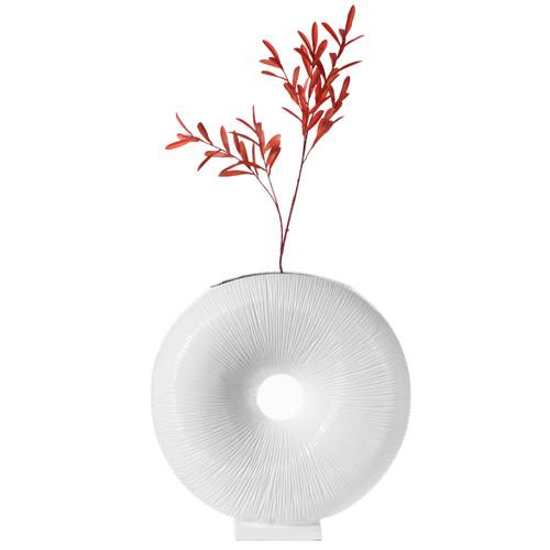 White Modern Round Flat Vase With Hole