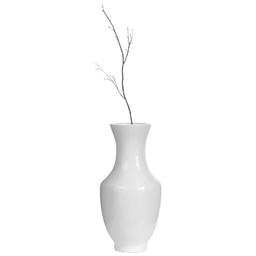 Modern Dining Trumpet Floor Vase, For Entryway and Living Room, White Fiberglass 22 inch