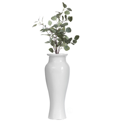 Modern Dining Trumpet Floor Vase, For Entryway and Living Room, White Fiberglass 24 inch