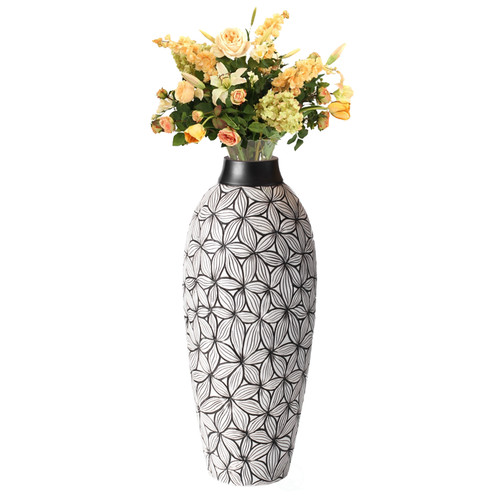 Cylinder Classic Style Designed Round Table Vase for Entryway Dining or Living Room, Ceramic White