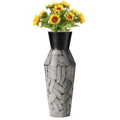 Trumpet Classic Style Straight Designed Table Vase for Entryway Dining or Living Room, Ceramic Black