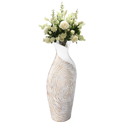 Modern Ribbed Style Designed Table  Vase for Entryway Dining or Living Room, Ceramic White
