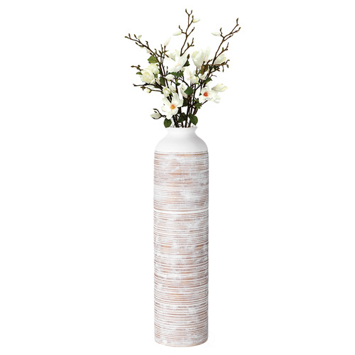 Modern Ribbed Trumpet Style Designed Table Vase for Entryway Dining or Living Room, Ceramic White