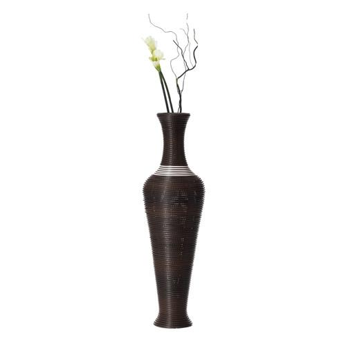 """Black Decorative Antique Trumpet Design 40"""" Tall Freestanding Floor Vase"""