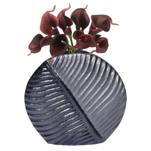 Aluminium-Casted Leaf Shaped Centerpiece Flower Table Vase, Two Tone Grey 7.5 Inch