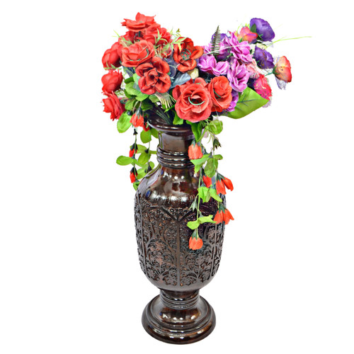 Antique Decorative Brown Mango Wood Table Flower Vase with Unique Textured Pattern, 24 Inch