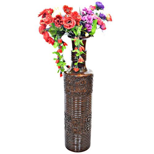Antique Decorative Brown Mango Wood Floor Flower Vase with Unique Textured Pattern, 36 Inch