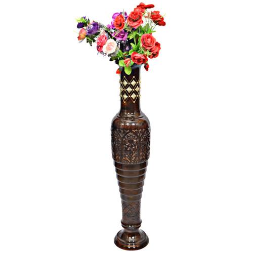 Antique Decorative Brown Mango Wood Floor Flower Vase with Unique Textured Pattern, 37 Inch