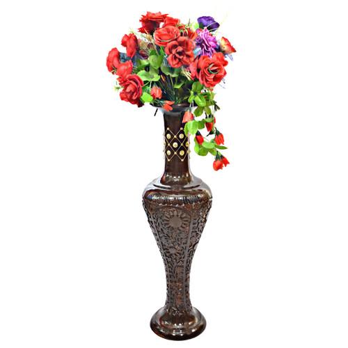 Antique Decorative Brown Mango Wood Floor Flower Vase with Unique Textured Pattern, 30 Inch