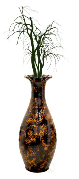 Traditional Brown Trumpet Shaped Floor Vase, 36 Tall