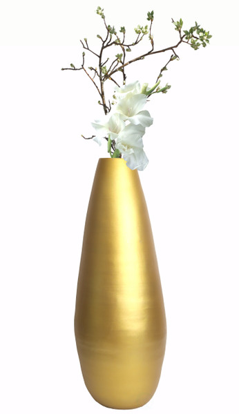 "31.5"" Spun Bamboo Modern Tall Floor Vase, Gold Metallic"