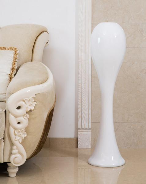 "39"" Tall White Narrow Unique Fiberglass Modern Floor Vase"
