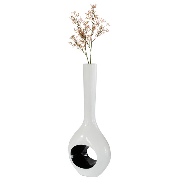 Decorative Unique Tall Vase with Hole Outside White Inside Black