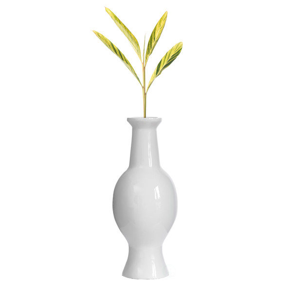Modern Dining Trumpet Floor Vase, For Entryway and Living Room, White Fiberglass 26 inch
