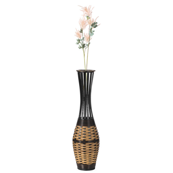 """Antique Trumpet Style Floor Vase, For Entryway or Living Room, Bamboo Rope, Brown 34"""" Tall"""