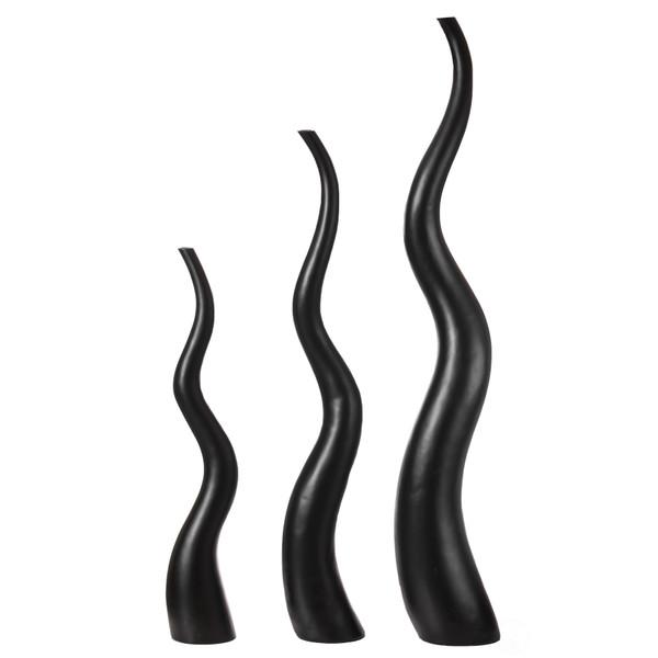 Tall Animal Horn Shape Floor Vase for Entryway Dining or Living Room, Ceramic Black
