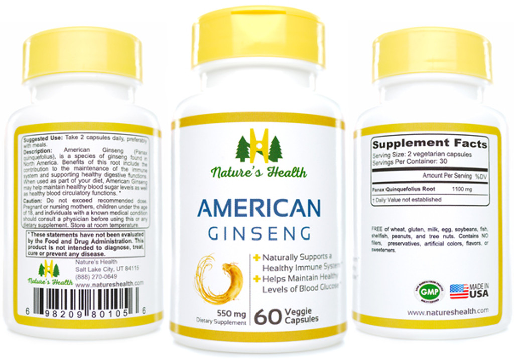 American Ginseng Panax Quinquefolius Herbal Supplement