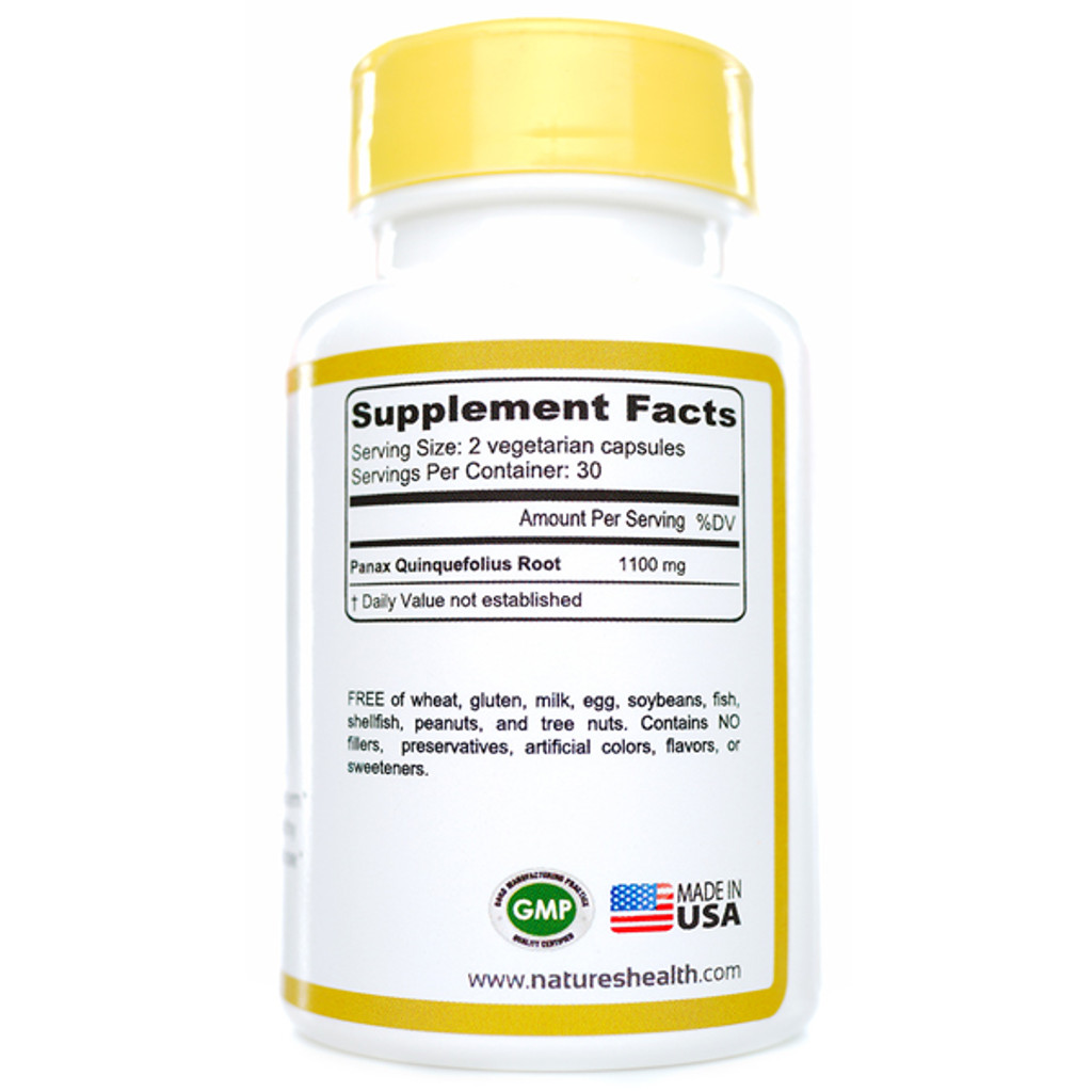 American Ginseng Panax Quinquefolius Supplement Facts
