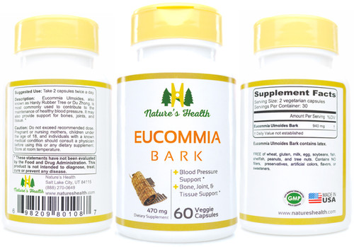 Eucommia Ulmoides Bark Herbal Supplement