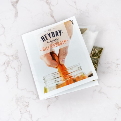 Heyday Dill Carrots recipe pack - seasonings and easy to follow instructions.