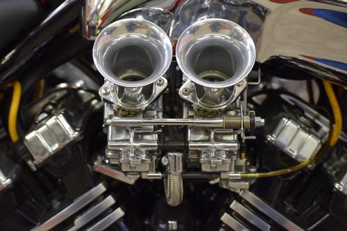 Polished VGAS Carburetors with shorter velocity stacks.
