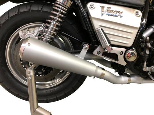 StreetPro 4-2 Exhaust w/ Megaphone Mufflers - Satin Silver Ceramic Coated 1985-2007 Yamaha Vmax