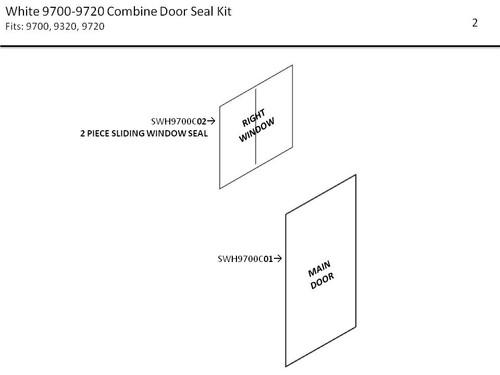 WHITE 9700-9720 COMBINE  DOOR SEAL KIT