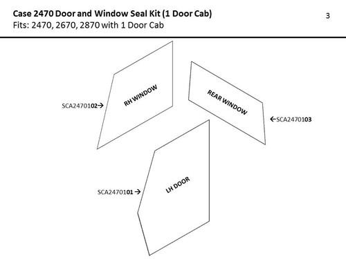 CASE 2470 DOOR & WINDOW SEAL KIT (1 DOOR CAB) - REAR WINDOW