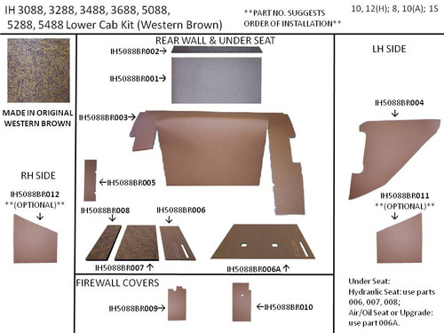 IH 5088 LOWER KIT (WESTERN BROWN)