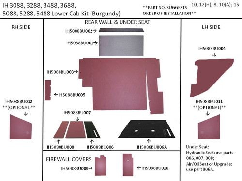 IH 5088 LOWER KIT (BURGUNDY)