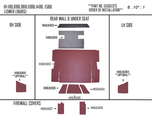 IH 86/3388 LOWER KIT (BURGUNDY)