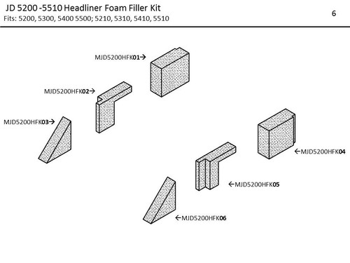 JD 5200 -5510 HEADLINER FOAM FILLER KIT