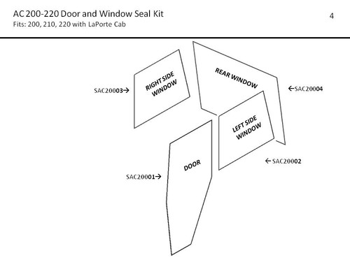 AC 200-220  DOOR AND WINDOW SEAL KIT (LAPORTE CAB)