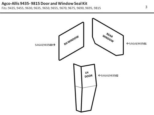 AGCO- ALLIS 9435- 9815 DOOR AND WINDOW SEAL KIT